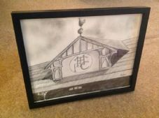 White Hart Lane Old Main Stand Gable in graphite - original framed artwork sized 14'' x 11''
